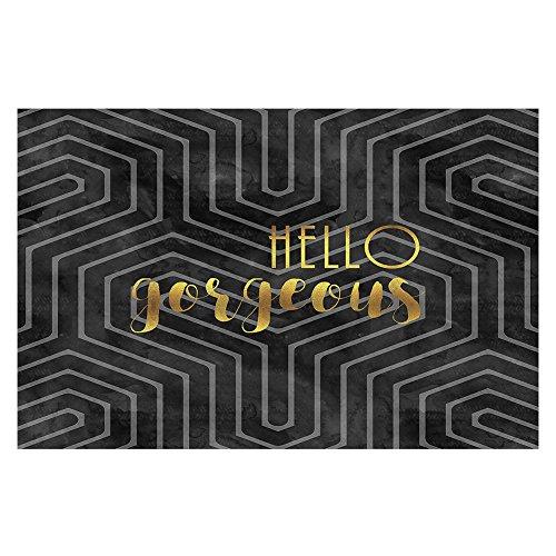 Gebied Tapijten of Badmat met Chevron Weave - DiaNoche Ontwerpen door kunstenaar Zara Martina - Hallo Prachtige Geo Patroon Zwart Goud Small 2 x 3 Ft Goud