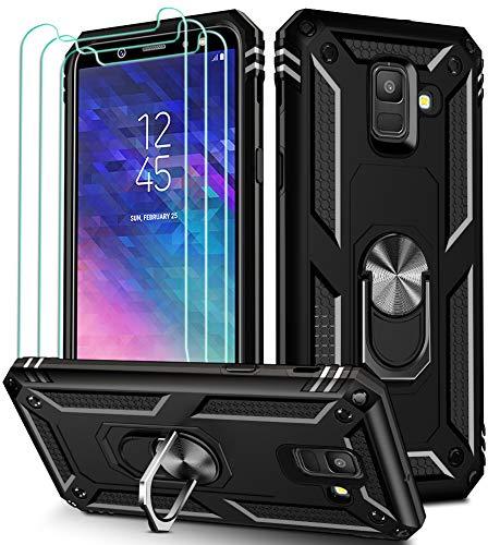 iVoler Cover per Samsung Galaxy A6 2018 con 3 Pezzi Pellicola Vetro Temperato, Grado Militare Custodia Protezione con Anello Ruotabile Cavalletto, Antiurto TPU Bumper Case - Nero