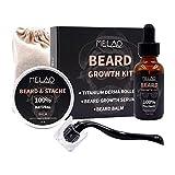 Conjunto de barba para hombres Kit de crecimiento de barba Kit de crecimiento de barba Rodillo de barba Suero de aceite Bálsamo de barba Regalo de crecimiento de barba para hombres