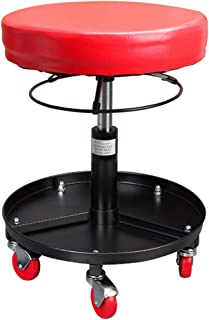 Pneumatic Chair, Mechanic Pro-Lift Round Stool with Roller and Tool Tray for Car Bike Garage Workshop Red 300 Lbs Capacity