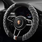 Car Steering Wheel Cover Sport Style with Short Plush Fluffy Winter Warm Soft Auto Wheel Cushion Protector Universal 15 inch 38cm (Gray)