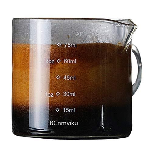1 Pack Double Spouts Measuring Triple Pitcher Milk Cup 75ML Espresso Shot Glasses Parts Clear Glass