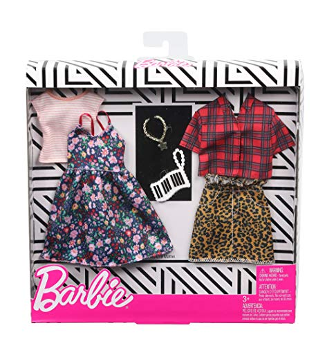 Barbie GHX57 - Fashions 2er-Pack Moden Floral and Gingham, 2 Outfits und 2 Accesoires für die Barbie Puppe