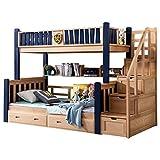 ZXM cama litera de madera maciza multifunción de dos capas cama infantil de alta y baja cama for niños adolescentes adultos con 4 cajones, compartimiento de almacenamiento inferior, superior y inferio