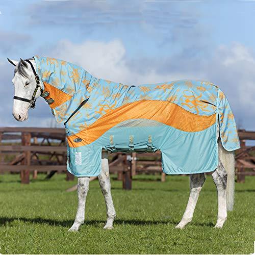Horseware Amigo 3 in 1 Evolution Disc Front Fly Rug 1,5 m, Aqua/Arancione e Aqua