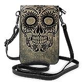 Lawenp Halloween Rose Skull Crossbody Monedero para teléfono Pequeño Mini bolso de hombro Bolsa para teléfono celular Cartera de cuero para mujeres y niñas