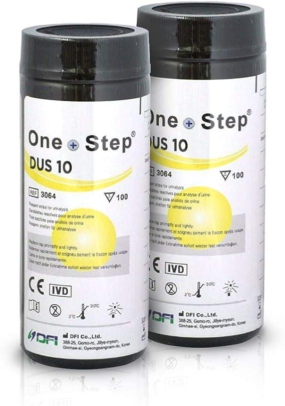 200 Tiras reactivas de analisis de orina de 10 Parámetros: Leucocitos, nitritos, urobilinógenos, proteínas, pH, sangre, densidad, cetona, bilirrubina ...