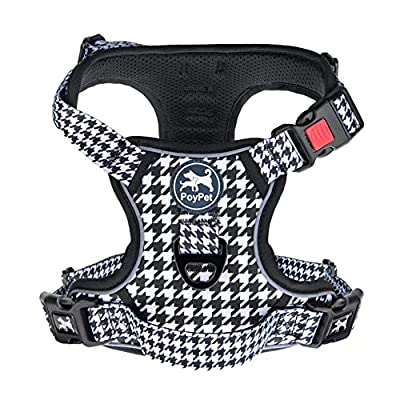 PoyPet No Pull Dog Harness, [Release on Neck] Reflective Adjustable No Choke Pet Vest with Front & Back 2 Leash Attachments, Soft Control Training Handle for Small Medium Large Dogs(Houndstooth,M) by PoyPet