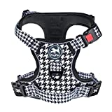 PoyPet No Pull Dog Harness, [Release on Neck] Reflective Adjustable No Choke Pet Vest with Front & Back 2 Leash Attachments, Soft Control Training Handle for Small Medium Large Dogs(Houndstooth,S)