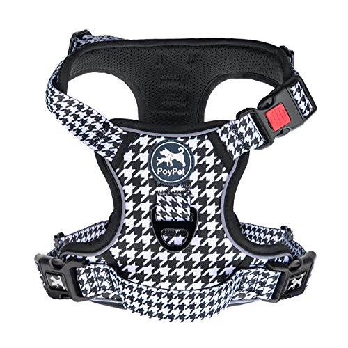 PoyPet No Pull Dog Harness, [Release on Neck] Reflective Adjustable No Choke Pet Vest with Front & Back 2 Leash Attachments, Soft Control Training Handle for Small Medium Large Dogs(Houndstooth,XL)
