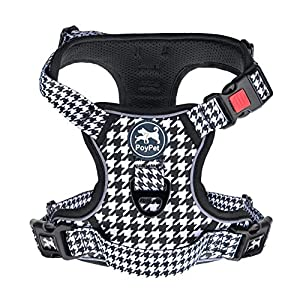 PoyPet No Pull Dog Harness, [Release on Neck] Reflective Adjustable No Choke Pet Vest with Front & Back 2 Leash Attachments, Soft Control Training Handle for Small Medium Large Dogs(Houndstooth,M)