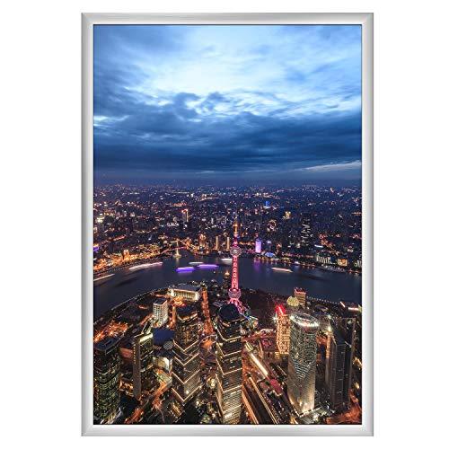 ONE WALL Posterrahmen 70 x 100 cm, Aluminium Bilderrahmen Fotorahmen für Poster Bilder, Silber
