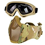 8. Airsoft Mask with Goggles, Foldable Half Face Airsoft Mesh Mask with Ear Protection for Paintball Shooting Cosplay CS Game (Camouflage 3)