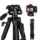 ESDDI Camera Tripod 55''/140cm Lightweight Portable Travel Tripod for Camera with Phone Holder and Quick Release Plate for Canon Nikon Sony Samsung Olympus with Carrying Bag Maximum Load Capacity 11lb