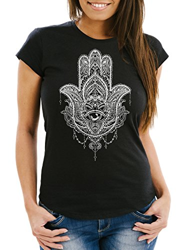 Neverless Damen T-Shirt Hamsa Fatimas Hand Mandala Boho Bohamian Ethno Tribal Ornament Slim Fit tailliert Baumwolle schwarz XL
