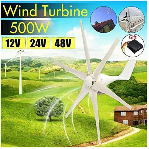 Turbina de Viento, Nueva 500W 12/24 / 48V energía eólica generador de turbinas de viento Opción 6 cuchillas con impermeable controlador de carga Ajuste for el país o acampar (Voltaje: 48V) ,Kit