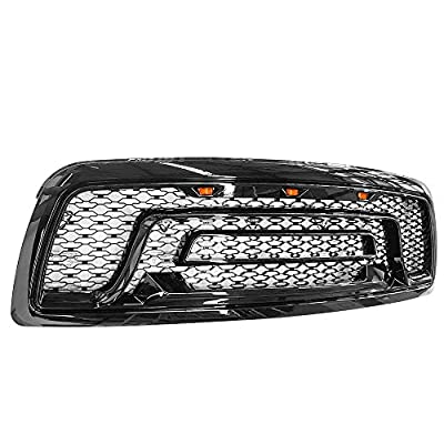 IKON MOTORSPORTS, Grille Compatible With 2009-2012 Ram 1500, Gloss Black Mesh Front Bumper Hood Upper Grill Shell with Signal LED, 2010 2011