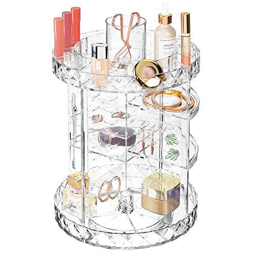 mDesign draaibaar make-uptafeltje - stijlvolle legplank voor lotion, cosmetica en sieraden - ronde meerlagige cosmetica bewaren voor de badkamer - transparant
