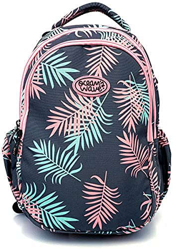 Ocean's Wave - Mochilas escolares. Mochila infantil grande con tela impermeable y bolsillo para portátil. 33 Litros, 46x37x27cm (Aloha)