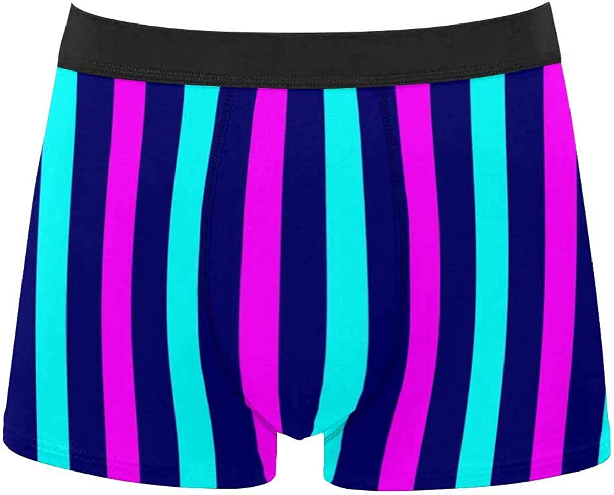InterestPrint Breathable Polyester Boxer Briefs Underwear for Mens Juniors Colorful Striped Pattern