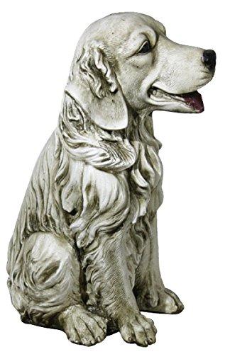 DEGARDEN Figura de Perro Labrador Decorativa para Jardín o Exterior Hecho de Piedra Artificial Peso 7 kg | Figura Perro Grande de 35 cm de Alto, Color Ceniza