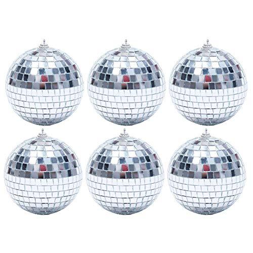 Tammy Yerke Christmas Mirror Balls Baubles 3cm/4cm/6cm Silver Mini Disco Mirror Ball Ornaments Christmas Tree Decoration Xmas Wedding DJ Stage Party Favor 6/12pcs
