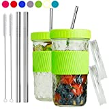 Reusable Smoothie Cups Boba Tea Cups with Lid and Straw,Bubble Tea Cup Glass Tumbler Travel Mug, Wide Mouth Mason Jar Cups (2-pack, 22 oz)(Green)