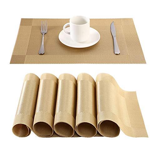 BaoWnylz Platzdeckchen(6er Set)-rutschfest Abwaschbar Tischsets, PVC Abgrifffeste Hitzebeständig Platzsets, Schmutzabweisend, Platz-Matten für küche and Restaurant(Golden)