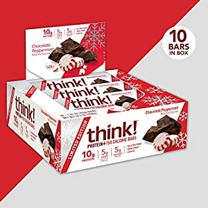think! Protein+ 150 Calorie Bars - Chocolate Peppermint LIMITED EDITION, 10g Protein, 5g Sugar, No Artificial Sweeteners, Gluten Free, GMO Free, 1.4 oz bar (10 Count)