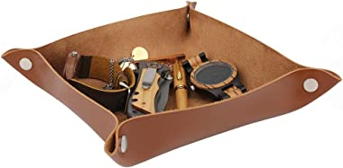 awofer Gifts for Wife Custom Leather Valet Tray,Engraved Key Tray,Personalized Leather Catchall,Leather Desk Organizer, Offic