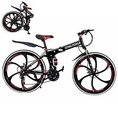 EWGQWB Folding Mountain Bike for Outdoor Cycling, Adult Bikes for Men Women, 21 Speed Shimano Shifter Dual Suspension Double Disc Brake Non-Slip (Black)