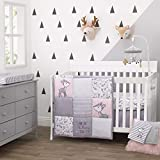 Little Love By Nojo Sweet Deer, Grey, Pink, White 3Piece Nursery Crib Bedding Set With Comforter, Fitted Crib Sheet, Dust Ruffle, Pink, Grey, White, Charcoal