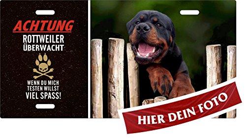 Holashirts Mallorca Hunde-Schild Rotti Achtung Rottweiler überwacht Blechschild eigenes Foto, Text selbst gestalten Metallschild Warnschild Türschild für innen und außen