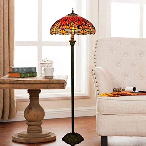 Dekorative Stehlampe Magische Beleuchtungsoptionen Moderne Stehlampe Raumleuchte Tiffany-Stil Bodenleuchten Europäische Buntglas Bodenleuchten mit Pedalschalter Libelle Dekoration Art Floor La Suit Fo