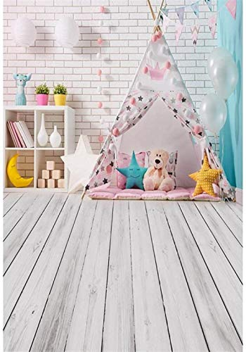 HD Indoor White Brick Wall Baby Girl s Photography Backdrop Printed Tent Balloons Toy Bear Stars Kids Children Photo Studio Background Wood Floor 7x10ft