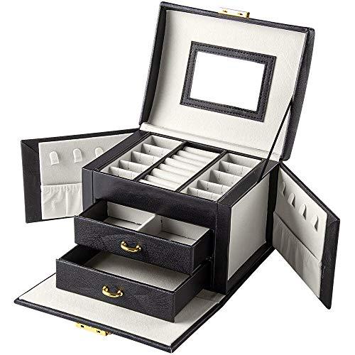 BalladHome Caja Joyero Caja para Joyas Organizador de Joyas con 2 Cajones Caja de joyería con Cerradura y Espejo,Portátil, para Pendientes, Pulseras, Anillos, Regalos Navidad-Negro-S