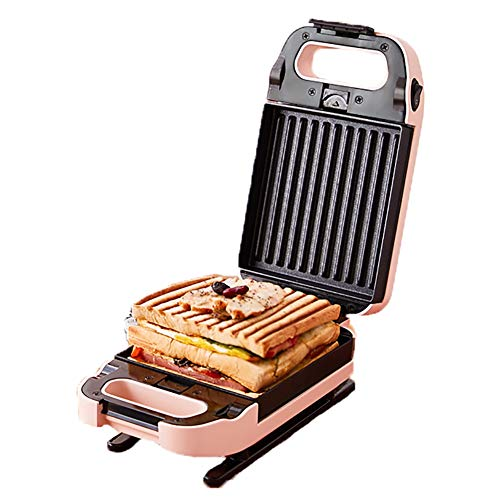 WXLSQ Desayuno Máquina Wafflera Mini Sandwichera Eléctrica Multifunctiontoaster Molde para Pasteles De Revestimiento Antiadherente, Fresca Mango De Tacto, Pies Antideslizantes 730W Rosa