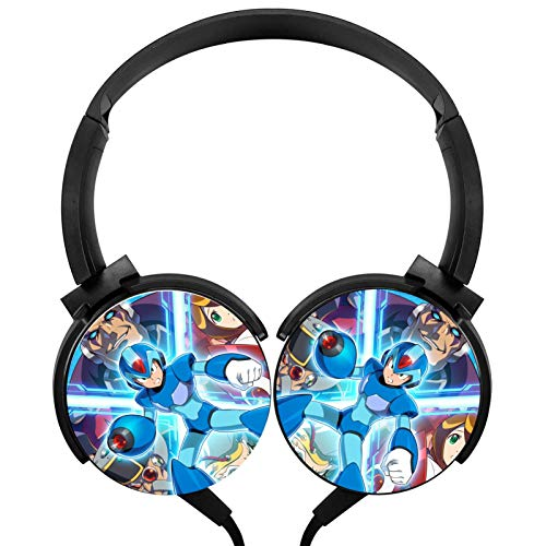 Women's/Adults Boys Mega-Man X Foldable Headphones Over Ear Headset Wired Headphones Lightweight Earphone Call Controller Headphone for Womensgaming