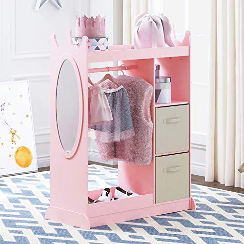 UTEX Kids Dress up Storage with Mirror and Storage Bin,Kids Armoire Dresser with Mirror, Costume Closet for Kids, Pretend Storage Closet for Kids,Costume Storage Dresser((Pink with Beige bin)
