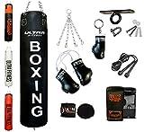 ULTRA FITNESS - Juego de saco de boxeo relleno pesado de 1,2 m o 1,5 m con gancho para el techo, negro, 4 pies