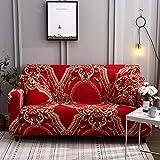 ASCV Funda de sofá elástica Estampada geométrica elástica para Sala de Estar Funda seccional Protector de Muebles de sofá A9 2 plazas