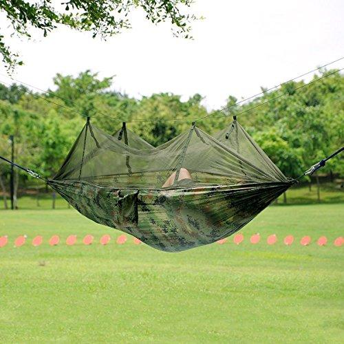Antye® Portable Nylon Tissu Voyage Camping Hamac pour Deux Personnes avec des Moustiquaires (Couleur)