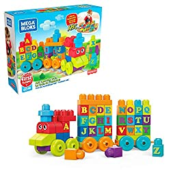 ​ Easy-to-build train for learning the alphabet ​ 60-piece playset includes building blocks and special shapes ​ Blocks feature all the letters A through Z ​ Includes three rolling wheelbases ​ Rebuilds into a train station ​ suitable for little hand...