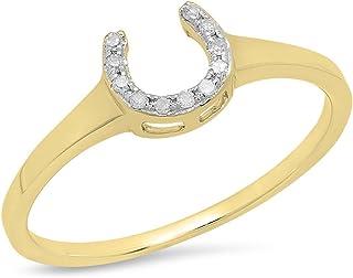 Dazzlingrock Collection 0.05 Carat (ctw) 14K Gold Round Cut White Diamond Ladies Horseshoe Eangagement Ring