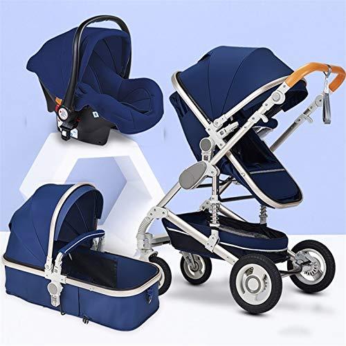 JIAX Cochecito De Bebé Y Asiento De Coche con Rotación 360, para Recién Nacidos Y Niños Pequeños, Sillas de Paseo 3 En 1 Todo Terreno Cochecito De Bebé Plegable Sistema De Viaje (Color : Blue)