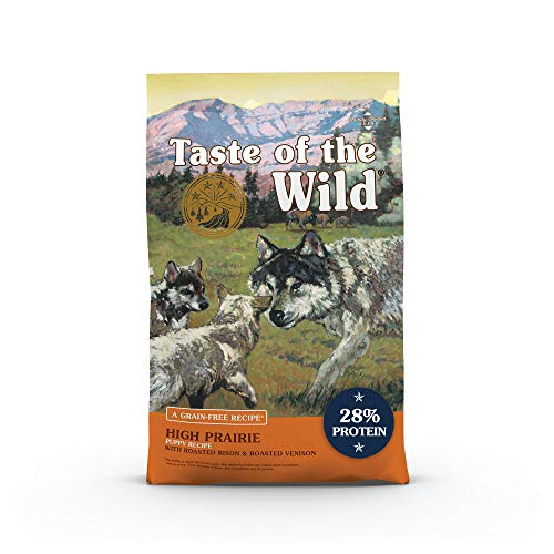 Taste of the Wild High Prairie Canine Grain-Free Recipe with Roasted Bison and Venison Dry Dog Food for Growing Puppies, Made with High Protein from Real Meat and Guaranteed Nutrients 28lb