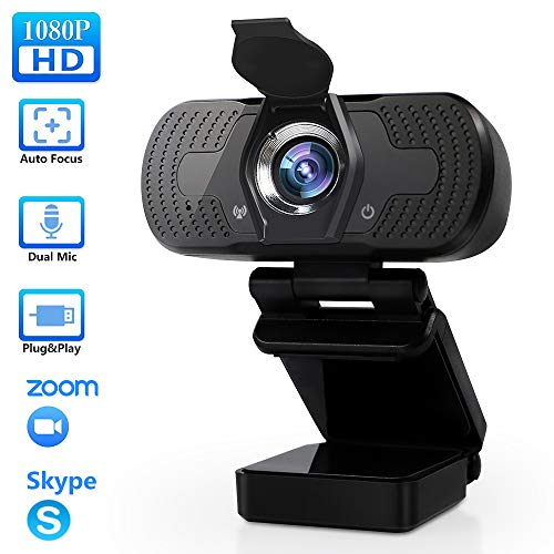 TROPRO Webcam mit Mikrofon, Full HD 1080P Computer Kamera mit Abdeckung USB PC Webcam mit Cover Laptop Streaming Kamera Für Skype,Zoom,FaceTime, Hangouts, etc.