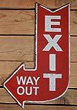 Cartel de chapa Cartel Exit Way Out Antiguo Estilo de flecha de...