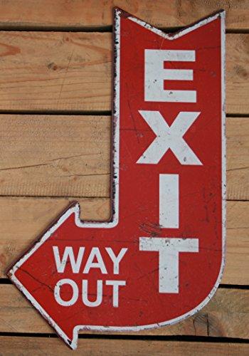 Moritz Cartel de Chapa Cartel Exit Way out Antiguo Estilo de Flecha de Salida Decorativa, Retro, 40x 25cm de señales