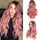 LEEMAE Pink Ombre Wig With Dark Roots Long Pink Wavy Wig Heat Resistant Synthetic Pink Hair Wig Natural Looking Daily Party Wigs For Women Girl (1BPINK)